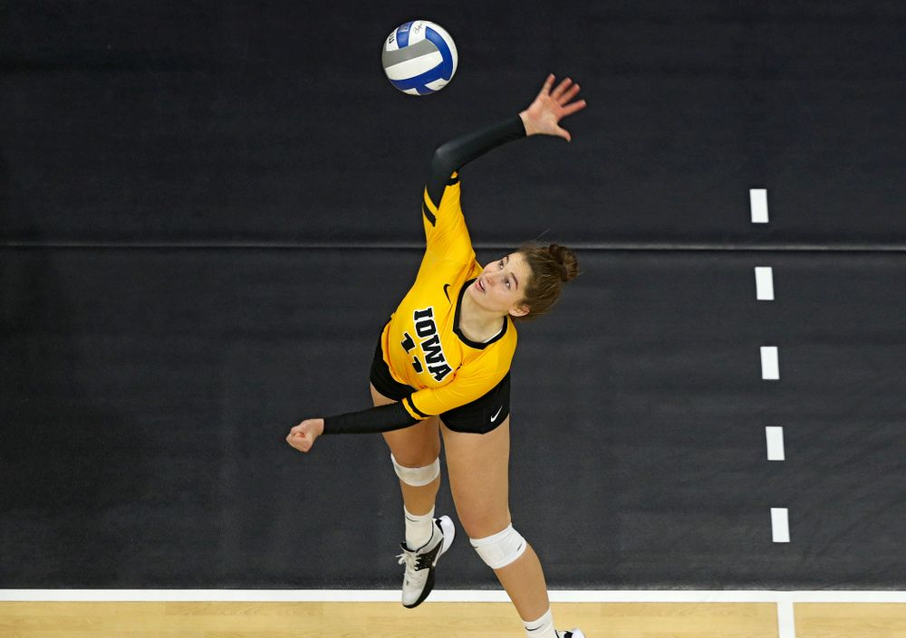Iowa's Blythe Rients (11) gets up for a shot during the fourth set of their match at Carver-Hawkeye Arena in Iowa City on Friday, Nov 29, 2019. (Stephen Mally/hawkeyesports.com)