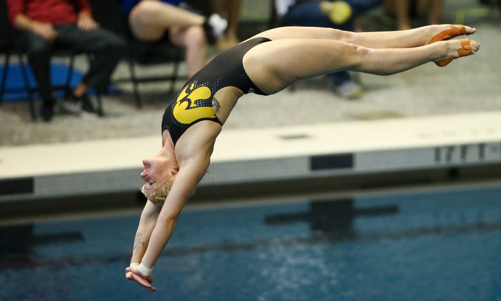 Iowa's Thelma Strandberg competes in the platform diving competition during the third day of the Hawkeye Invitational at the Campus Recreation and Wellness Center on November 17, 2018. (Tork Mason/hawkeyesports.com)