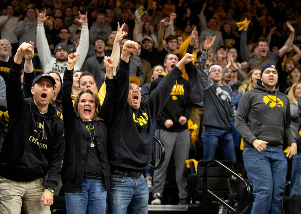 Iowa fans cheer on Alex Marinelli in his 165-pound match during their dual at Carver-Hawkeye Arena in Iowa City on Friday, January 31, 2020. (Stephen Mally/hawkeyesports.com)