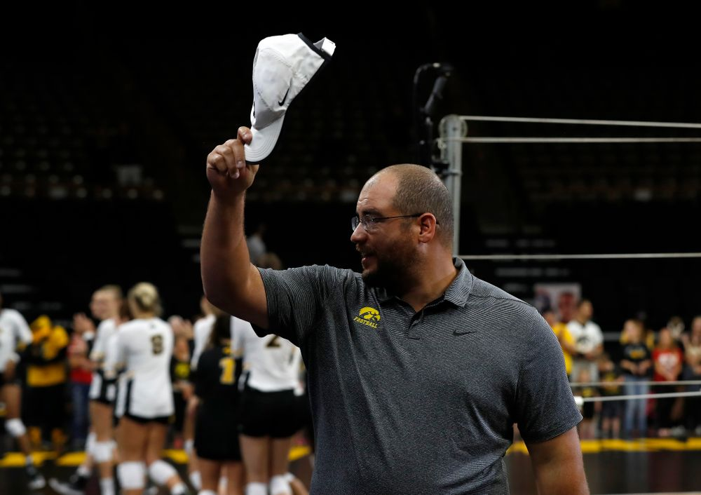 Former Hawkeye Football player Julian Vandervelde sings the National Anthem before the Iowa Hawkeyes game against the Michigan Wolverines Sunday, September 23, 2018 at Carver-Hawkeye Arena. (Brian Ray/hawkeyesports.com)