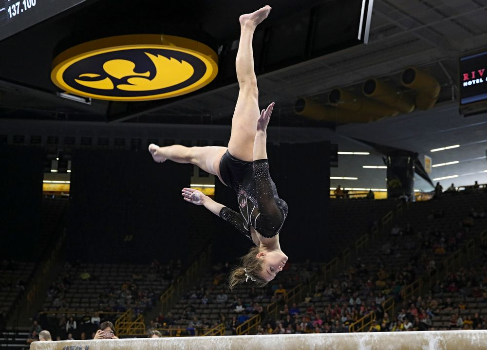 Iowa's Mackenzie Vance competes on the beam during their meet at Carver-Hawkeye Arena in Iowa City on Sunday, March 8, 2020. (Stephen Mally/hawkeyesports.com)