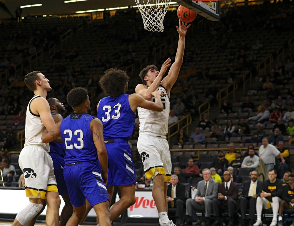 Iowa Hawkeyes center Luka Garza (55) makes a basket during the second half of their exhibition game against Lindsey Wilson College at Carver-Hawkeye Arena in Iowa City on Monday, Nov 4, 2019. (Stephen Mally/hawkeyesports.com)