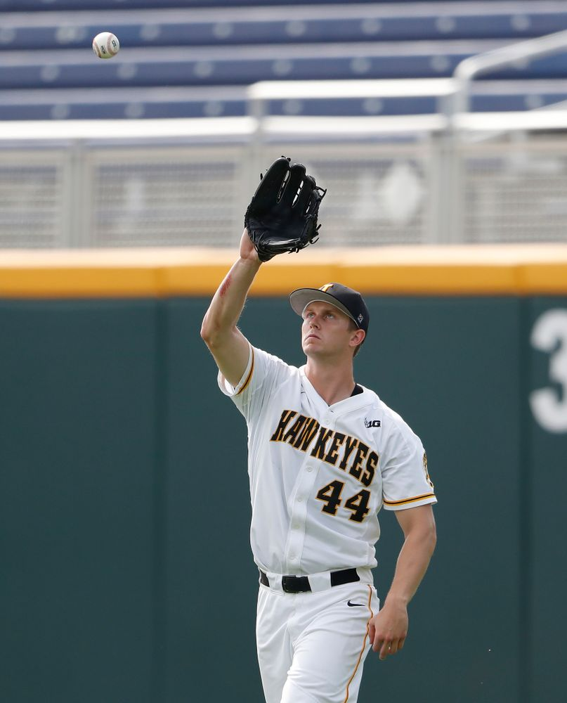 Iowa Hawkeyes outfielder Robert Neustrom (44) against the Ohio State Buckeyes in the second round of the Big Ten Baseball Tournament  Thursday, May 24, 2018 at TD Ameritrade Park in Omaha, Neb. (Brian Ray/hawkeyesports.com)