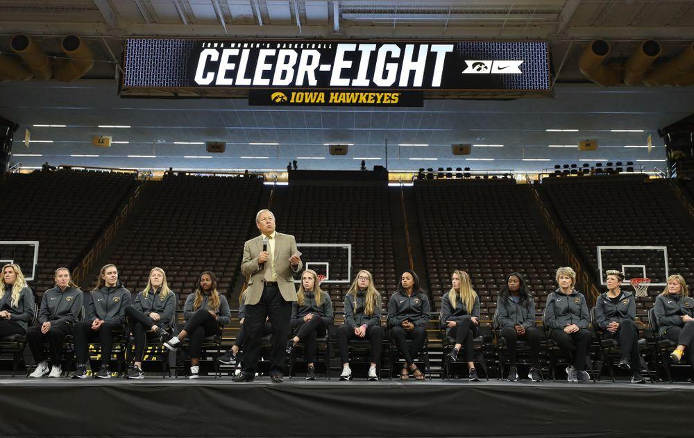 University of Iowa President Bruce Harreld speaks during the Iowa WomenÕs Basketball Celebr-Eight event Wednesday, April 24, 2019 at Carver-Hawkeye Arena. (Brian Ray/hawkeyesports.com)