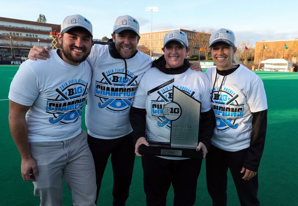 The Iowa Field Hockey coaches and manager Parker Dains following their game against Penn State in the 2019 Big Ten Field Hockey Tournament Championship Game Sunday, November 10, 2019 in State College. (Brian Ray/hawkeyesports.com)