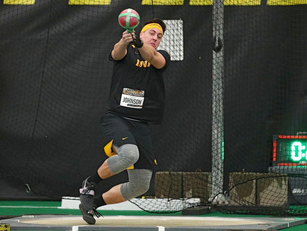 Iowa's Jordan Johnson throws in the men's weight throw event during the Larry Wieczorek Invitational at the Hawkeye Tennis and Recreation Complex in Iowa City on Friday, January 17, 2020. (Stephen Mally/hawkeyesports.com)