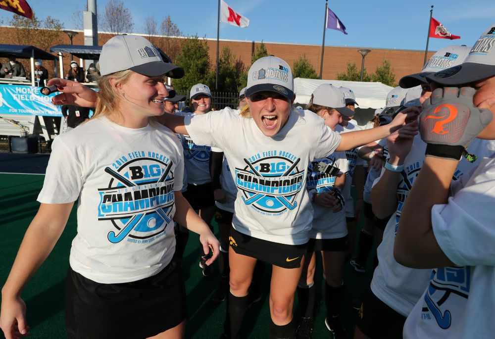Iowa Hawkeyes Ellie Holley (7) celebrates their victory over  Penn State in the 2019 Big Ten Field Hockey Tournament Championship Game Sunday, November 10, 2019 in State College. (Brian Ray/hawkeyesports.com)