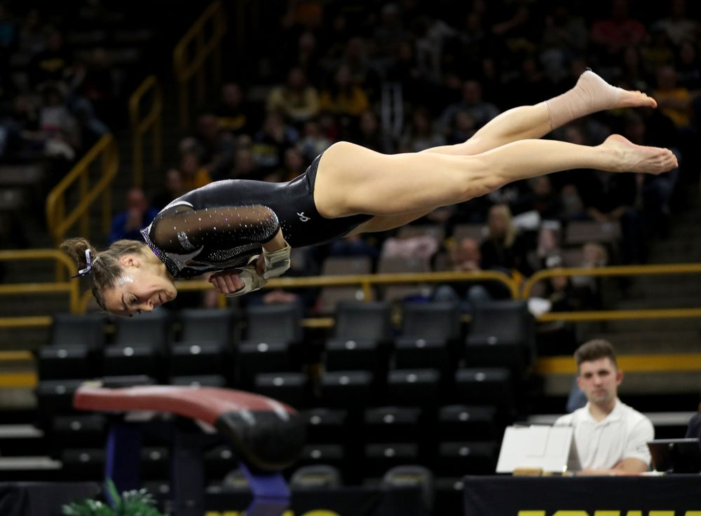 Iowa's Allie Gilchrist competes on the floor against Michigan State Saturday, February 1, 2020 at Carver-Hawkeye Arena. (Brian Ray/hawkeyesports.com)
