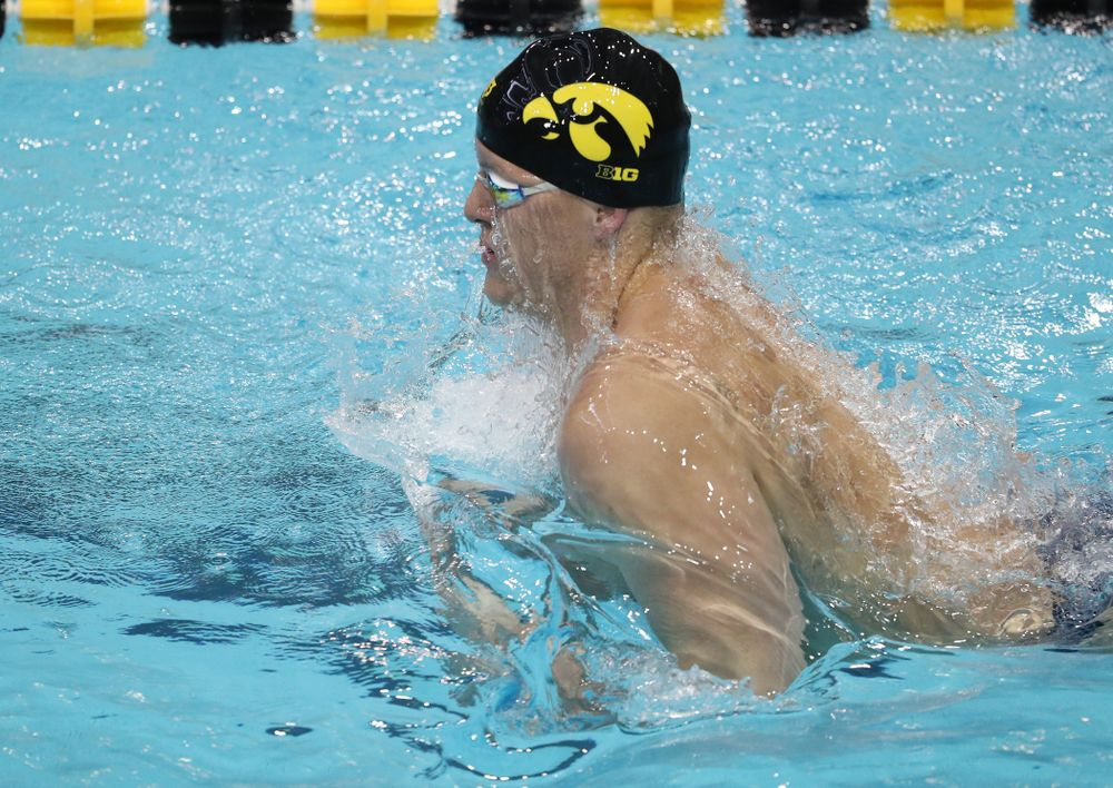 IowaÕs Will Myhre swims the breaststroke leg of the 200 Medley Relay against Notre Dame and Illinois Saturday, January 11, 2020 at the Campus Recreation and Wellness Center.  (Brian Ray/hawkeyesports.com)