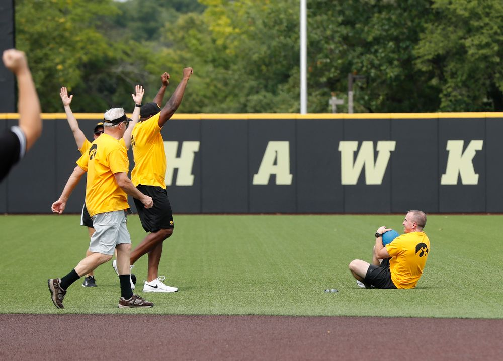 Strength and Conditioning coach Landon Evans during the Iowa Student Athlete Kickoff Kickball game  Sunday, August 19, 2018 at Duane Banks Field. (Brian Ray/hawkeyesports.com)