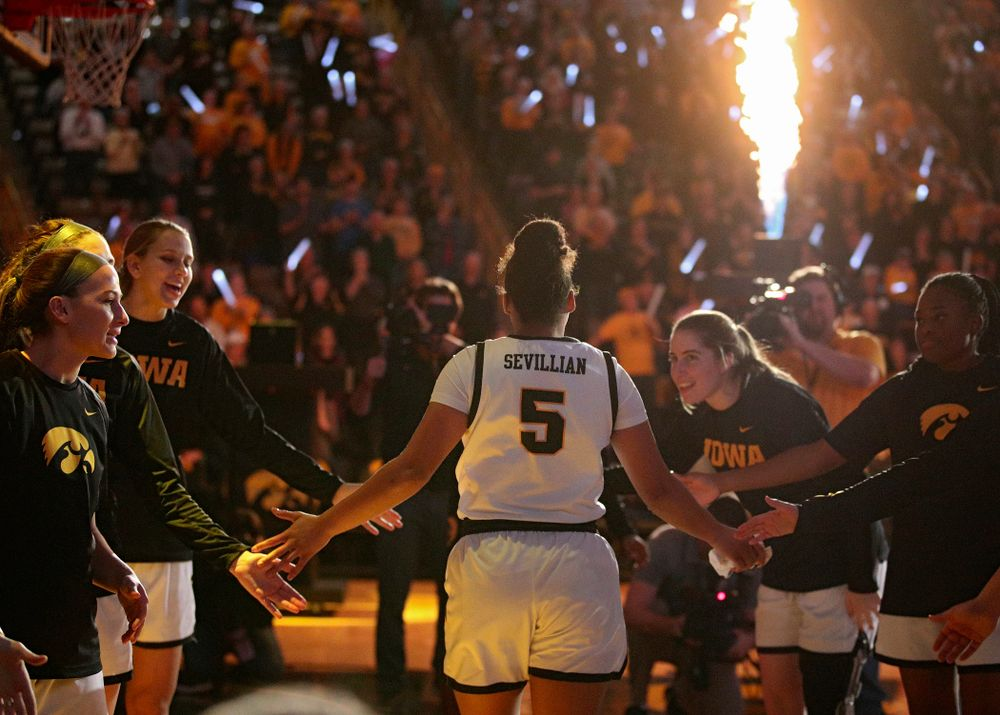 Iowa Hawkeyes guard Alexis Sevillian (5) is introduced before the game at Carver-Hawkeye Arena in Iowa City on Thursday, February 6, 2020. (Stephen Mally/hawkeyesports.com)