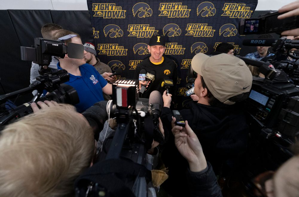 Iowa Hawkeyes head coach Rick Heller answers questions from reporters during the team's annual media day Tuesday, February 5, 2019 in the Indoor Practice Facility. (Brian Ray/hawkeyesports.com)