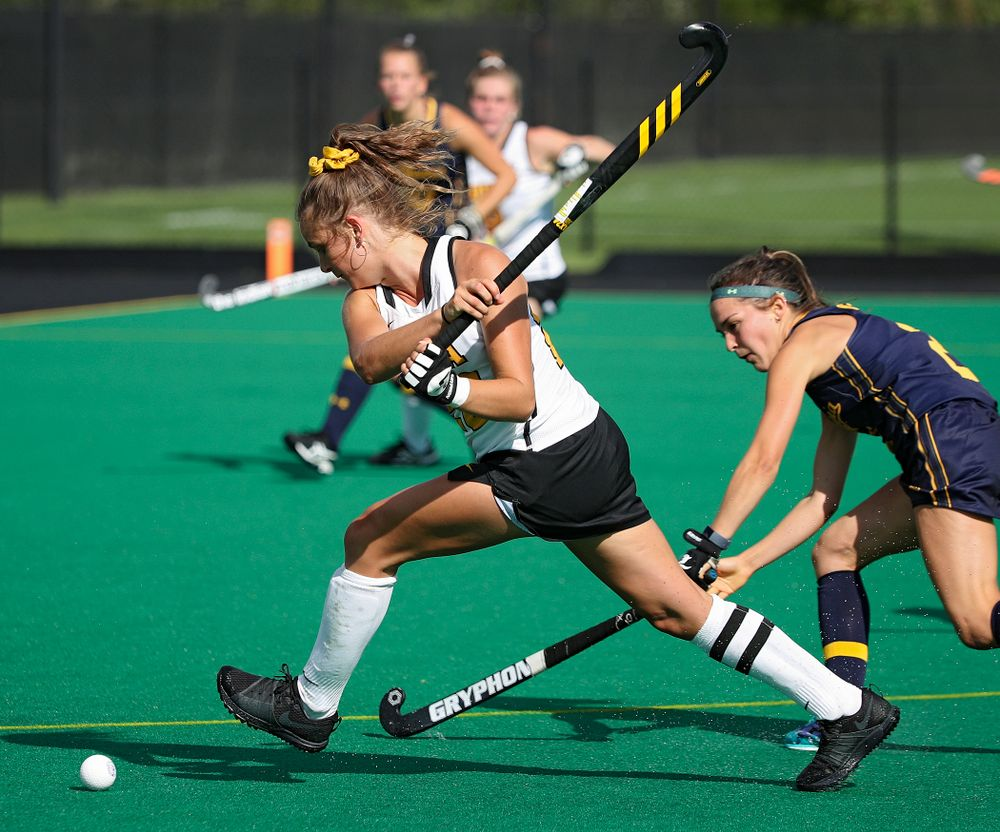 Iowa's Maddy Murphy (26) lines up a shot during the third quarter of their game at Grant Field in Iowa City on Friday, Sep 13, 2019. (Stephen Mally/hawkeyesports.com)