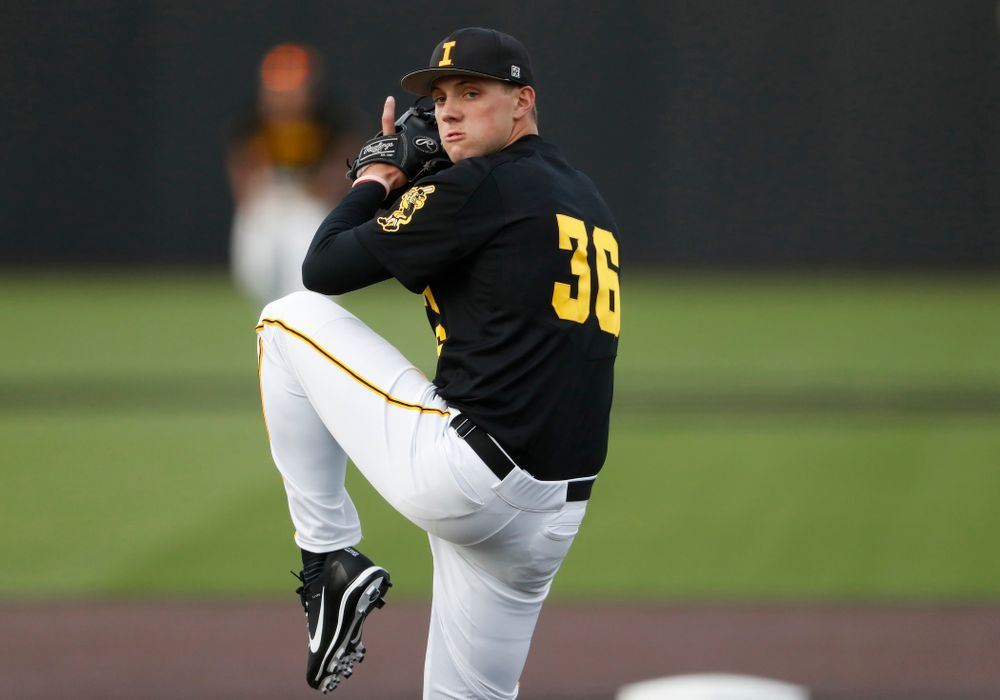 Jake McLaughlin against the Ontario Blue Jays Friday, September 21, 2018 at Duane Banks Field. (Brian Ray/hawkeyesports.com)