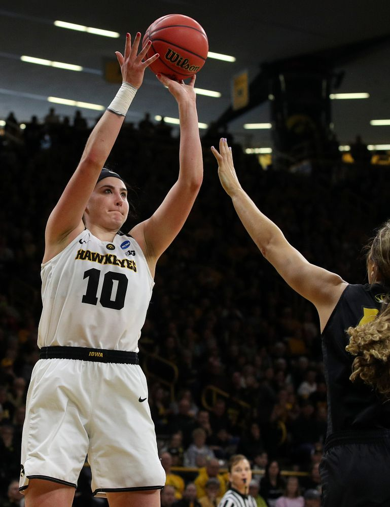 Iowa Hawkeyes center Megan Gustafson (10) puts up a shot during the third quarter of their second round game in the 2019 NCAA Women's Basketball Tournament at Carver Hawkeye Arena in Iowa City on Sunday, Mar. 24, 2019. (Stephen Mally for hawkeyesports.com)