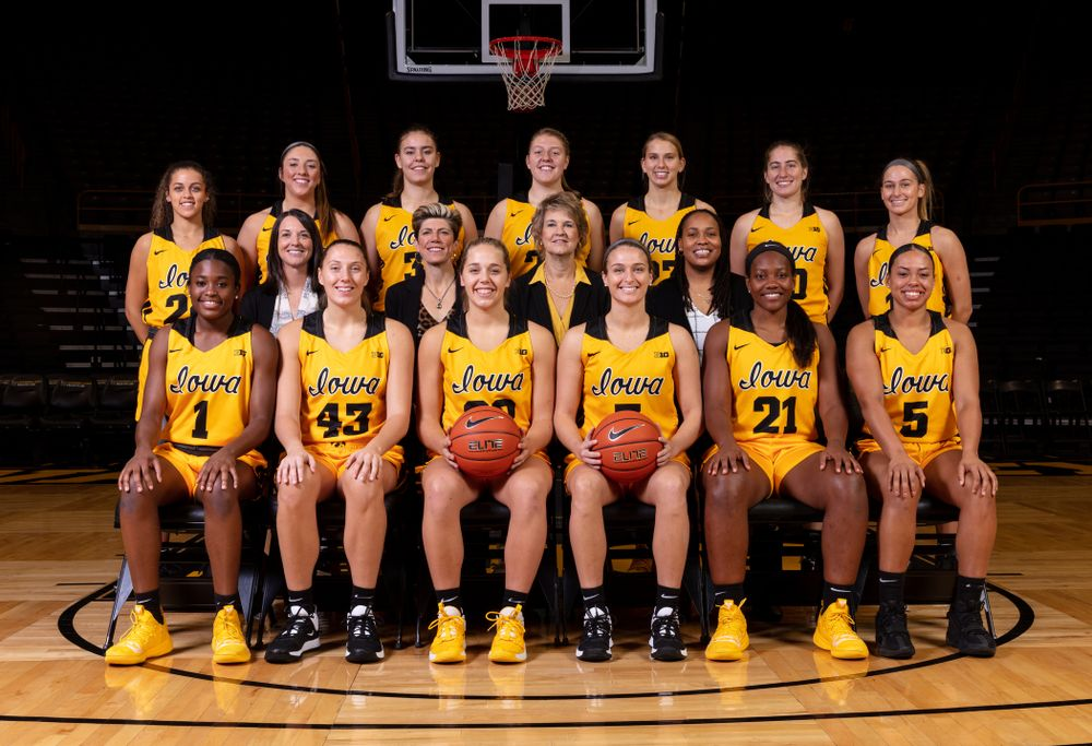 The 2019-2020 Iowa WomenÕs Basketball team and coaches  Thursday, October 24, 2019 at Carver-Hawkeye Arena. (Brian Ray/hawkeyesports.com)