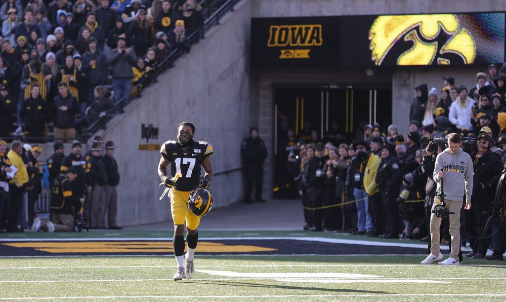 Iowa Hawkeyes defensive back Devonte Young (17) during Senior Day festivities before their game against the Illinois Fighting Illini Saturday, November 23, 2019 at Kinnick Stadium. (Brian Ray/hawkeyesports.com)