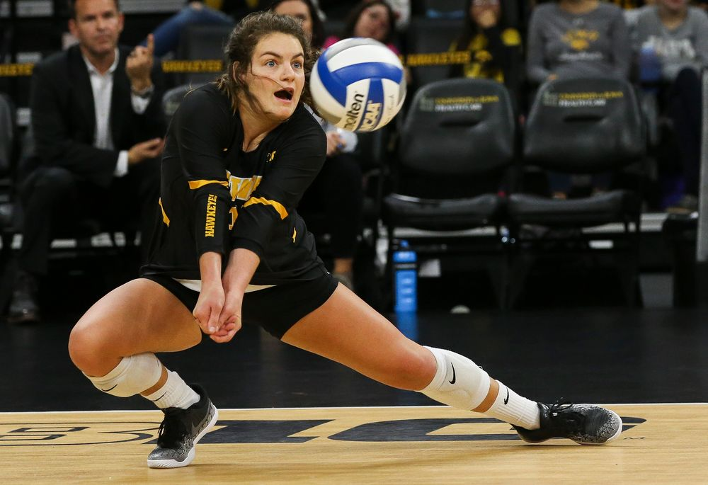 Iowa Hawkeyes defensive specialist Molly Kelly (1) digs the ball during a game against Purdue at Carver-Hawkeye Arena on October 13, 2018. (Tork Mason/hawkeyesports.com)