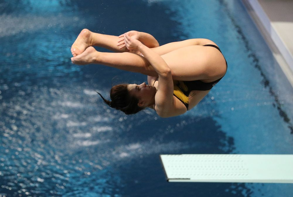 Jayah Mathews competes on the 1 meter board Thursday, November 15, 2018 during the 2018 Hawkeye Invitational at the Campus Recreation and Wellness Center. (Brian Ray/hawkeyesports.com)