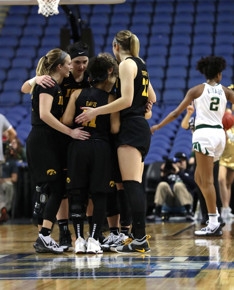 The Iowa Hawkeyes against the Baylor Lady Bears in the regional final of the 2019 NCAA Women's College Basketball Tournament Monday, April 1, 2019 at Greensboro Coliseum in Greensboro, NC.(Brian Ray/hawkeyesports.com)