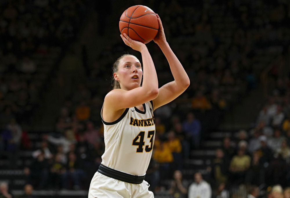 Iowa Hawkeyes forward Amanda Ollinger (43) makes a free throw during the second quarter of their game at Carver-Hawkeye Arena in Iowa City on Sunday, January 26, 2020. (Stephen Mally/hawkeyesports.com)