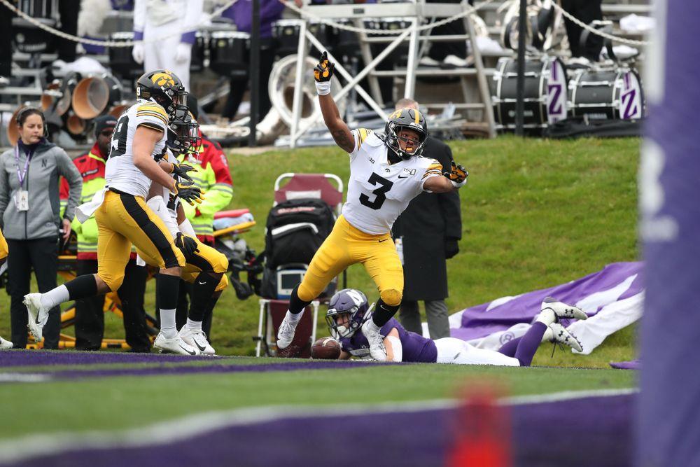 Iowa Hawkeyes wide receiver Tyrone Tracy Jr. (3) against the Northwestern Wildcats Saturday, September 28, 2019 at Kinnick Stadium. (Max Allen/hawkeyesports.com)