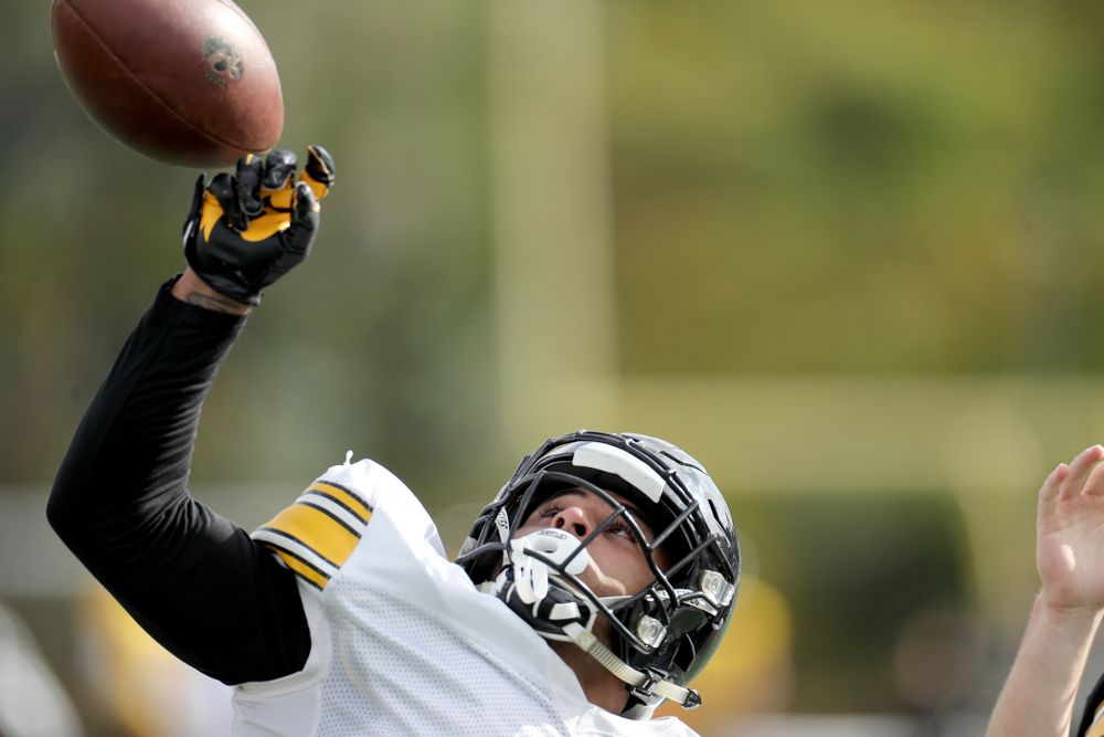 Iowa Hawkeyes defensive back Geno Stone (9) breaks up a pass during Holiday Bowl Practice No. 3  Tuesday, December 24, 2019 at San Diego Mesa College. (Brian Ray/hawkeyesports.com)