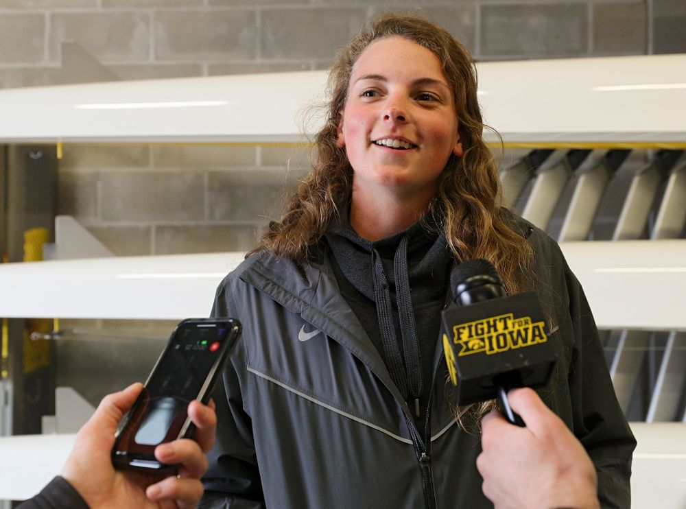Iowa's Hannah Greenlee answers a question during media availability at the P. Sue Beckwith, M.D., Boathouse in Iowa City on Wednesday, Apr. 10, 2019. (Stephen Mally/hawkeyesports.com)