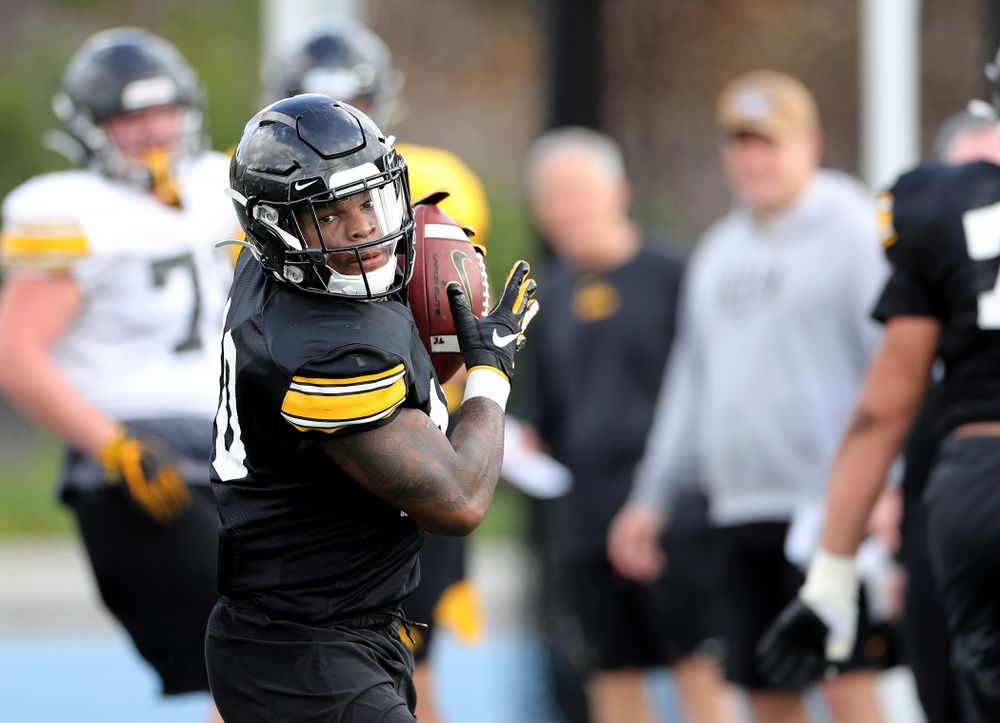 Iowa Hawkeyes running back Mekhi Sargent (10) during Holiday Bowl Practice No. 3  Tuesday, December 24, 2019 at San Diego Mesa College. (Brian Ray/hawkeyesports.com)