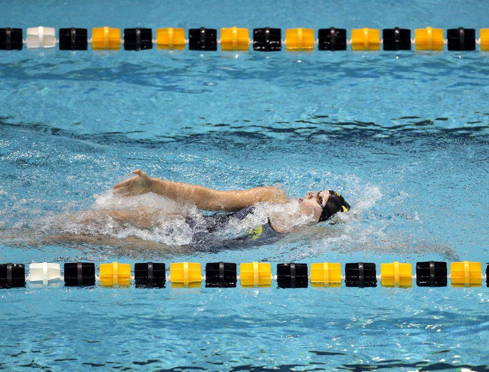 IowaÕs Zoe Pawloski swims the 200 yard backstroke against the Michigan Wolverines Friday, November 1, 2019 at the Campus Recreation and Wellness Center. (Brian Ray/hawkeyesports.com)
