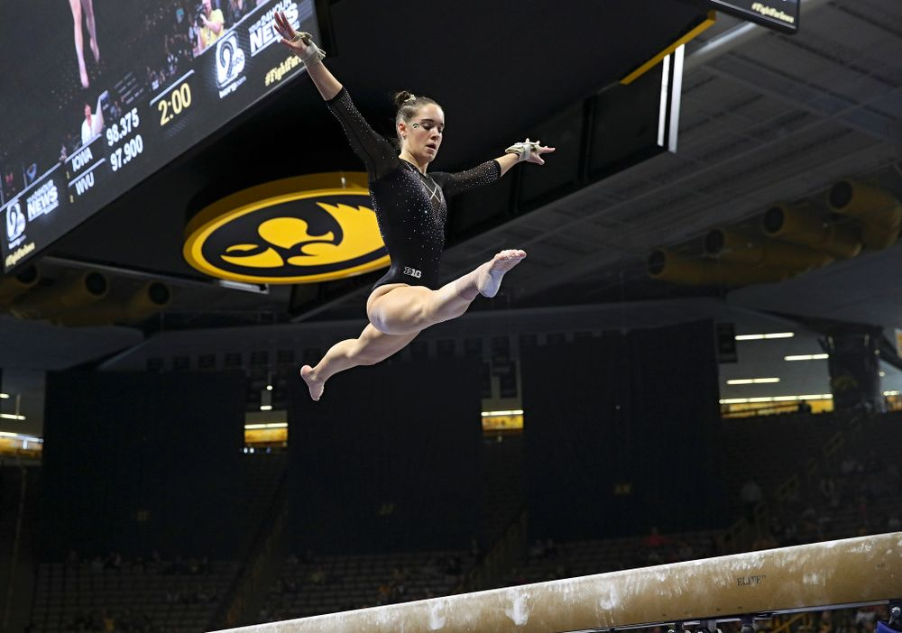 Iowa's Allie Gilchrist competes on the beam during their meet at Carver-Hawkeye Arena in Iowa City on Sunday, March 8, 2020. (Stephen Mally/hawkeyesports.com)