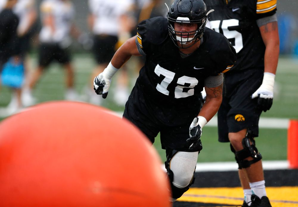 Iowa Hawkeyes offensive lineman Coy Kirkpatrick (72) during camp practice No. 15  Monday, August 20, 2018 at the Hansen Football Performance Center. (Brian Ray/hawkeyesports.com)