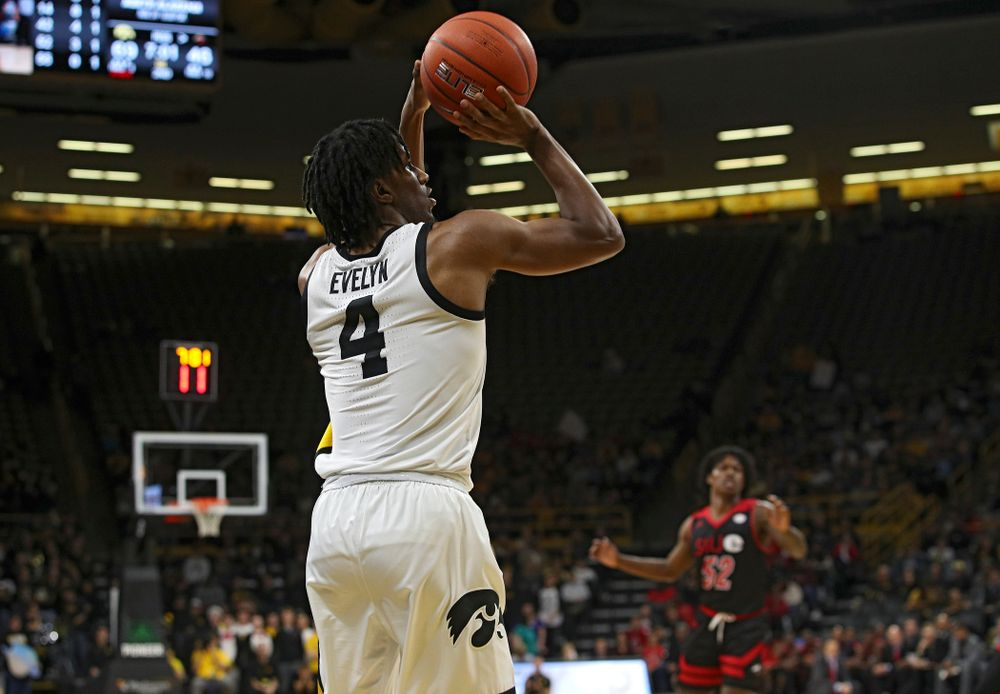 Iowa Hawkeyes guard Bakari Evelyn (4) makes a 3-pointer during the second half of their game at Carver-Hawkeye Arena in Iowa City on Friday, Nov 8, 2019. (Stephen Mally/hawkeyesports.com)