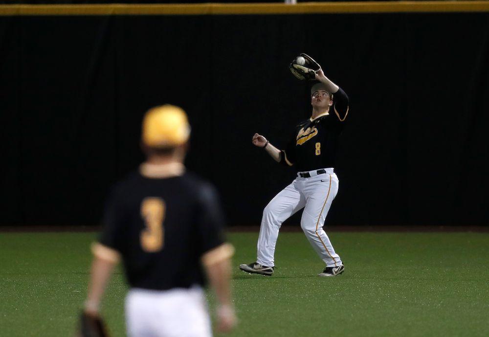Iowa Hawkeyes outfielder Luke Farley (8) against Milwaukee Wednesday, April 25, 2018 at Duane Banks Field. (Brian Ray/hawkeyesports.com)