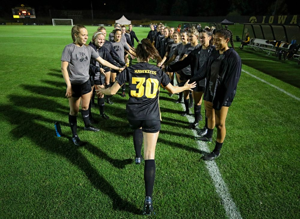 Iowa forward Devin Burns (30) is introduced before their match against Illinois at the Iowa Soccer Complex in Iowa City on Thursday, Sep 26, 2019. (Stephen Mally/hawkeyesports.com)