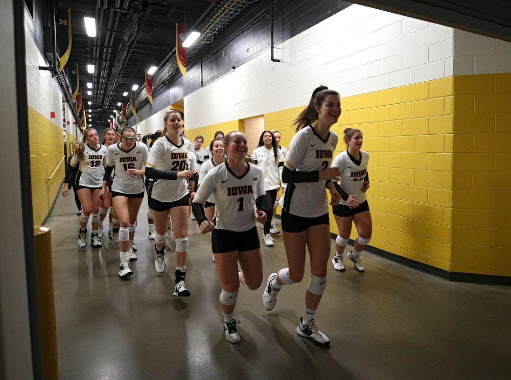 The Iowa Hawkeyes take the court before their match against Nebraska at Carver-Hawkeye Arena in Iowa City on Saturday, Nov 9, 2019. (Stephen Mally/hawkeyesports.com)