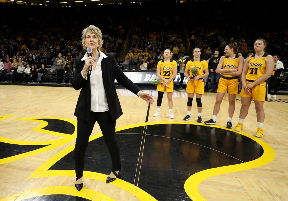Iowa Hawkeyes head coach Lisa Bluder during senior day activities following their win over the Minnesota Golden Gophers Thursday, February 27, 2020 at Carver-Hawkeye Arena. (Brian Ray/hawkeyesports.com)