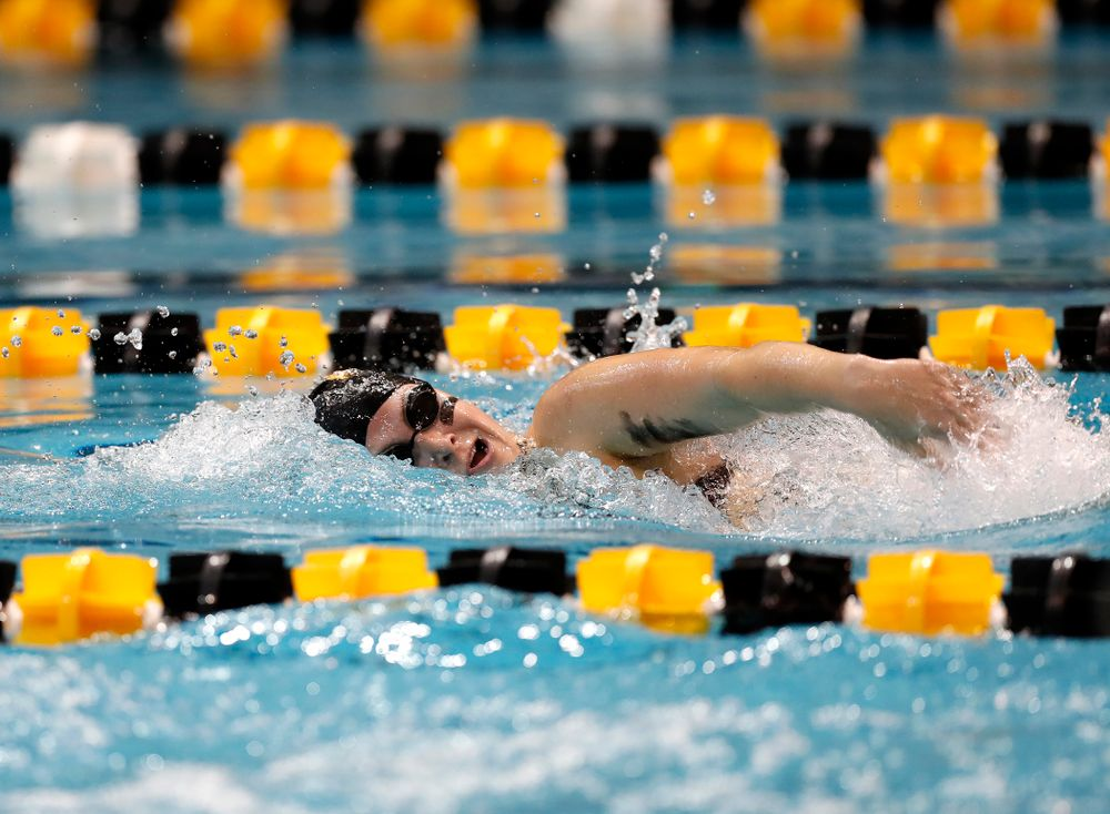 Abby Schneider swims the 200 yard freestyle during the Black and Gold Intrasquad Saturday, September 29, 2018 at the Campus Recreation and Wellness Center. (Brian Ray/hawkeyesports.com)
