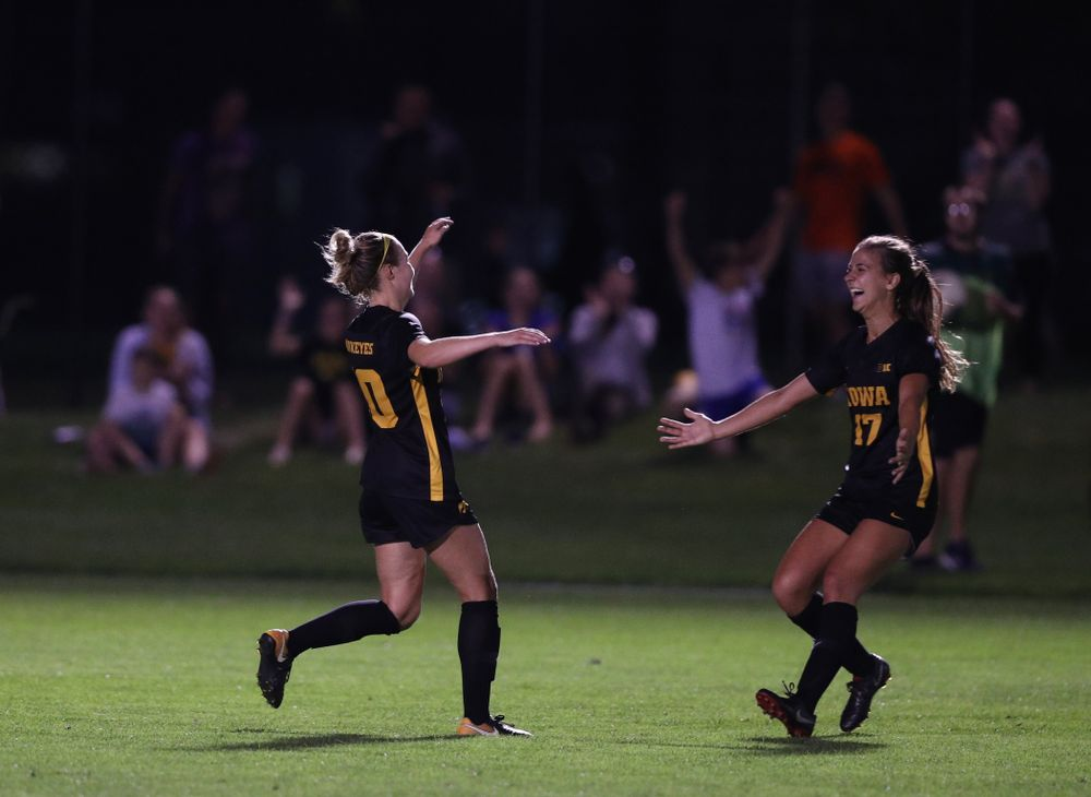Iowa Hawkeyes midfielder/defender Natalie Winters (10) and defender Hannah Drkulec (17) celebrate a goal during a 2-1 victory over the Iowa State Cyclones Thursday, August 29, 2019 in the Iowa Corn Cy-Hawk series at the Iowa Soccer Complex. (Brian Ray/hawkeyesports.com)