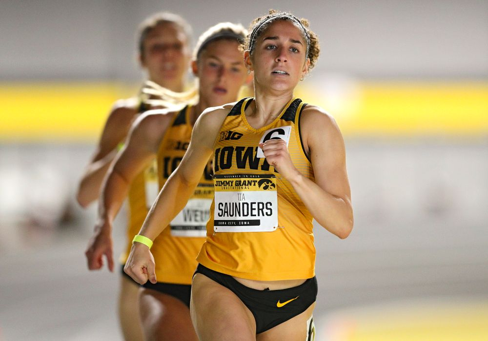 Iowa's Tia Saunders runs the women's 600 meter run event during the Jimmy Grant Invitational at the Recreation Building in Iowa City on Saturday, December 14, 2019. (Stephen Mally/hawkeyesports.com)