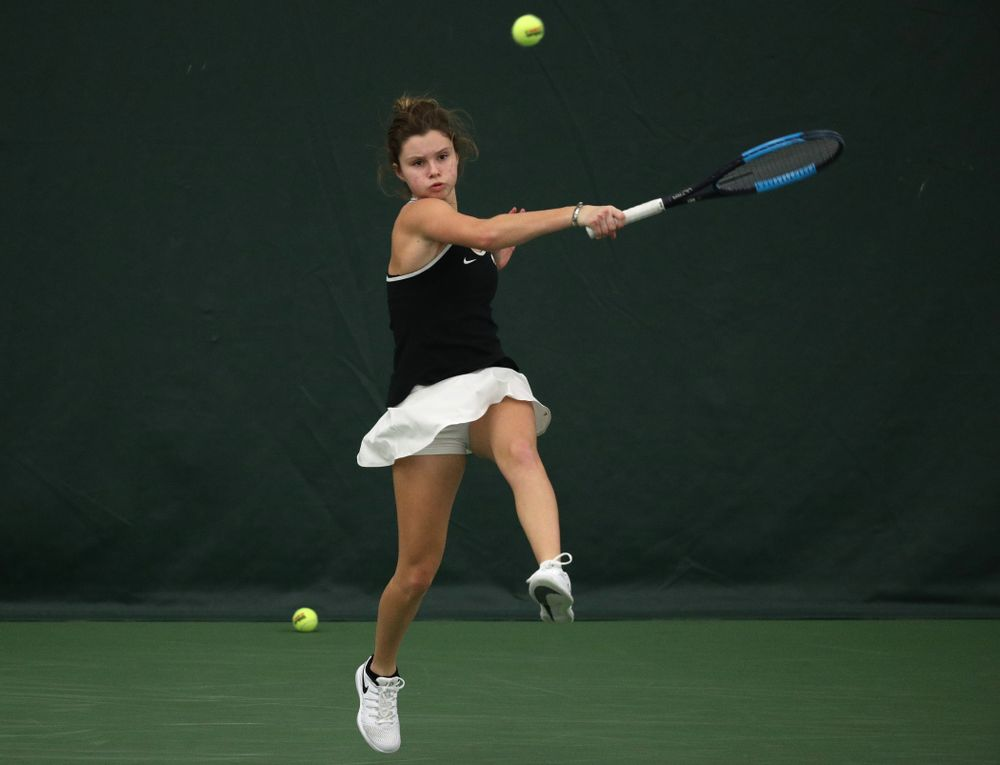 Iowa's Cloe Ruette during a doubles match against North Texas Sunday, January 20, 2019 at the Hawkeye Tennis and Recreation Center. (Brian Ray/hawkeyesports.com)