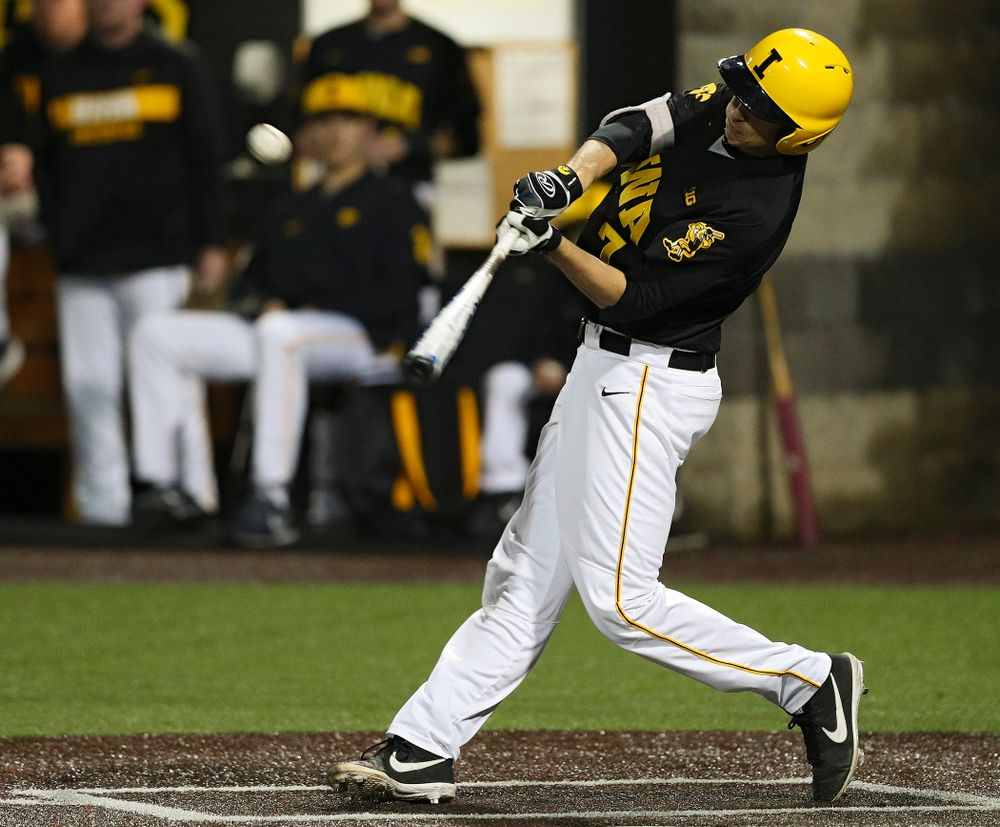 Iowa Hawkeyes pinch hitter Grant Judkins (7) hits a sacrifice fly during the sixth inning of their game against Western Illinois at Duane Banks Field in Iowa City on Wednesday, May. 1, 2019. (Stephen Mally/hawkeyesports.com)