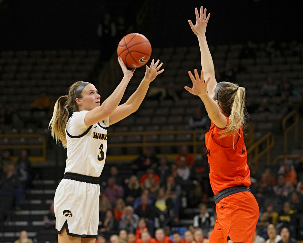 Iowa guard Makenzie Meyer (3) makes a basket during the fourth quarter of their overtime win against Princeton at Carver-Hawkeye Arena in Iowa City on Wednesday, Nov 20, 2019. (Stephen Mally/hawkeyesports.com)
