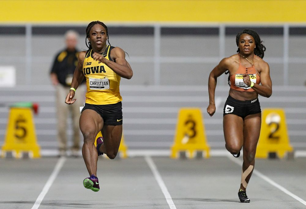 Iowa's Antonise Christian runs the women's 60 meter dash event during the Jimmy Grant Invitational at the Recreation Building in Iowa City on Saturday, December 14, 2019. (Stephen Mally/hawkeyesports.com)