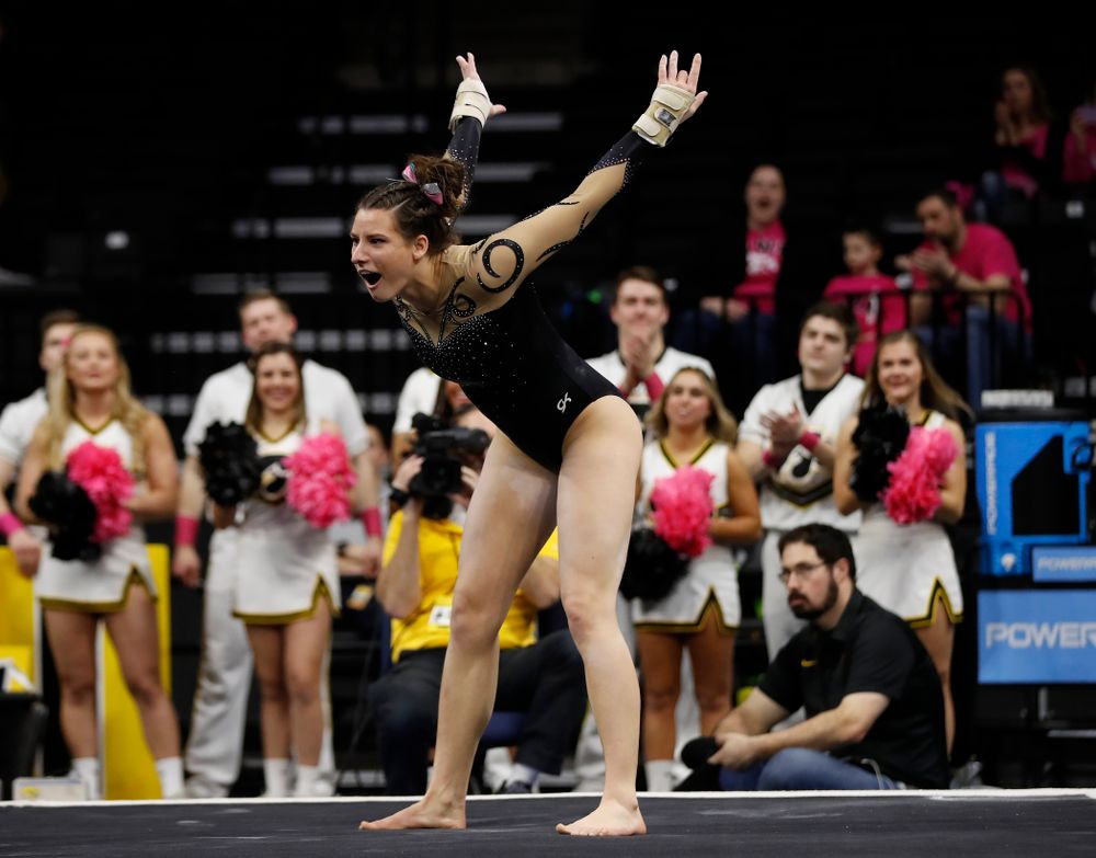 Iowa's Lanie Snyder competes on the floor
