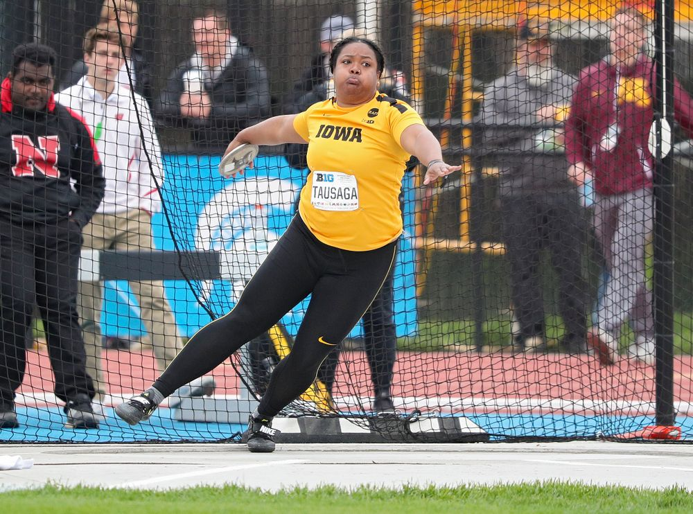 Iowa's Laulauga Tausaga throws in the women's discus event on the third day of the Big Ten Outdoor Track and Field Championships at Francis X. Cretzmeyer Track in Iowa City on Sunday, May. 12, 2019. (Stephen Mally/hawkeyesports.com)