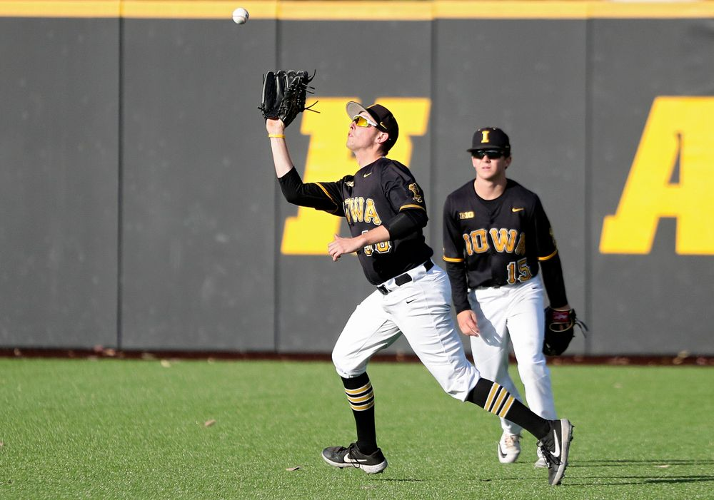 Iowa outfielder Trenton Wallace (38) pulls in a fly ball for an out during the fourth inning of the first game of the Black and Gold Fall World Series at Duane Banks Field in Iowa City on Tuesday, Oct 15, 2019. (Stephen Mally/hawkeyesports.com)