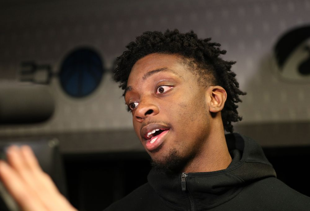 Iowa Hawkeyes forward Tyler Cook (25) during press availability and practice before the first round of the 2019 NCAA Men's Basketball Tournament Thursday, March 21, 2019 at Nationwide Arena in Columbus, Ohio. (Brian Ray/hawkeyesports.com)
