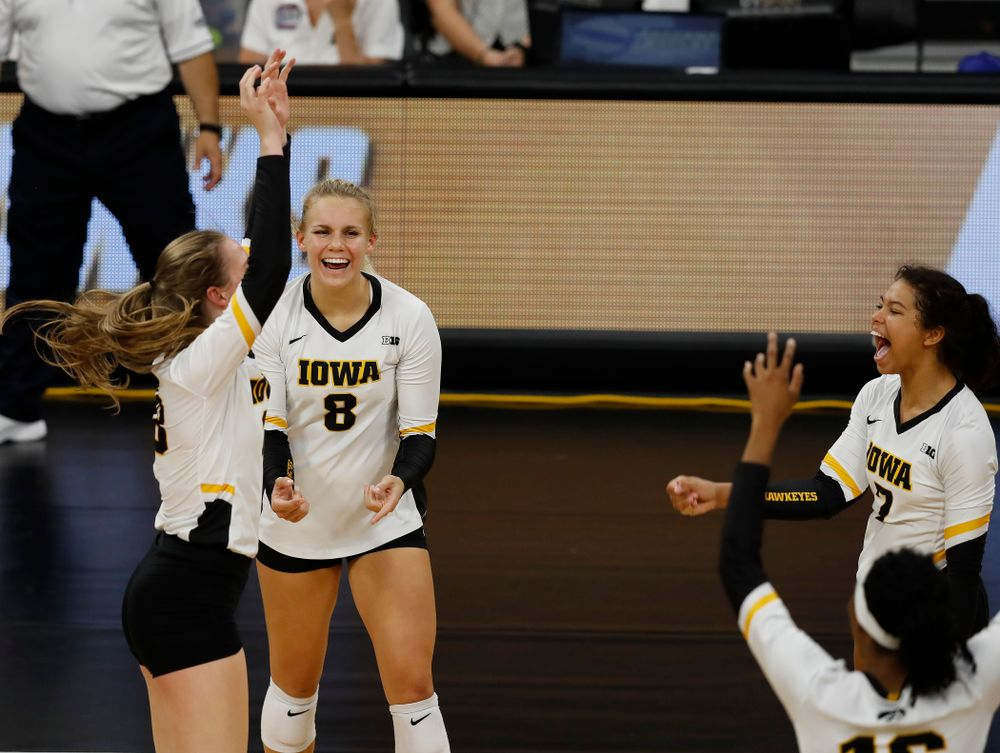 Iowa Hawkeyes right side hitter Reghan Coyle (8) against Eastern Illinois Sunday, September 9, 2018 at Carver-Hawkeye Arena. (Brian Ray/hawkeyesports.com)