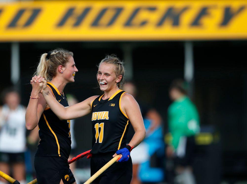 Iowa Hawkeyes Katie Birch (11) and Ellie Holley (7) against Dartmouth Friday, August 31, 2018 at Grant Field.  (Brian Ray/hawkeyesports.com)